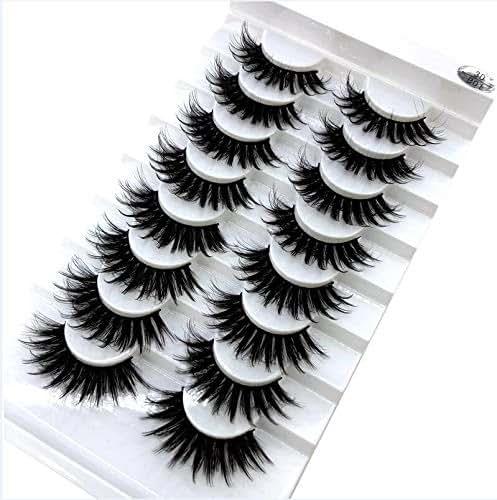 HBZGTLAD new 8 pairs of natural false eyelashes mink lashes long makeup 3d mink eyelashes extend eyelashes lashes mink(B01)