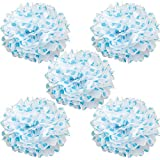 WYZworks Set of 5 - BLUE POLKA DOT 16'' - (5 Pack) Tissue Pom Poms Flower Party Decorations for Weddings, Birthday, Bridal, Baby Showers, Nursery, Décor