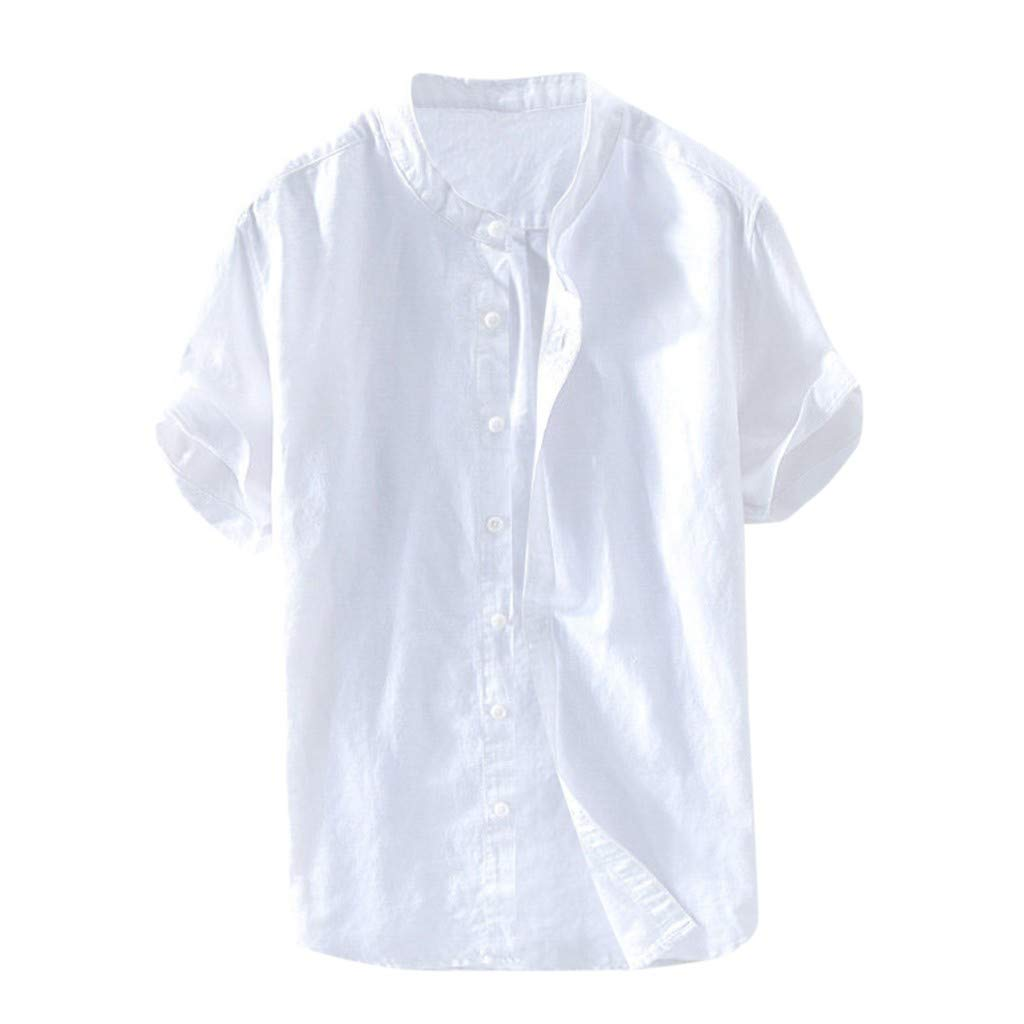 Toraway Mens Baggy Cotton Linen Solid Color Short Sleeve Retro T Shirts Tops Blouse Mens Clothes