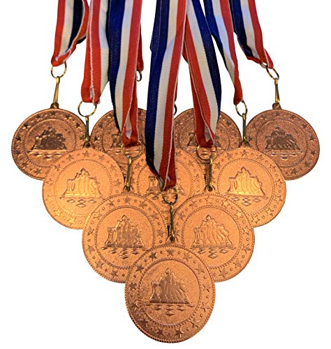 10 Pack of Bronze Chess Medals Trophy Award with Neck Ribbons