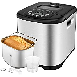 Programmable Bread Maker[2018 Upgraded], Aicok 2.2LB Stainless Steel Bread Machine with Gluten Free Menu setting, 3 Loaf Sizes, 3 Crust Colors, 15-Hour Delay Timer, 1 Hour Keep Warm
