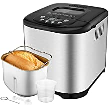 Aicok Programmable Bread Machine, 2.2LB User Friendly Bread Maker with Stainless Steel Housing, 3 Loaf Sizes, 3 Crust Colors, 15-Hour Delay Timer, 1 Hour Keep Warm, 15 Settings Including Gluten Free