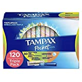 Tampax Pocket Pearl Plastic Tampons, Regular/Super/Super Plus Absorbency Triplepack, Unscented, 30 Count - Pack of 4 (120 Count Total) (Packaging May Vary)