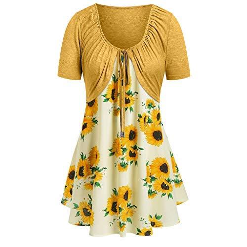 (Women Summer Tops Women Knot Bandage Top Sunflower Print Vest Shirt Tank Blouse Tunic Suit 2019 (L, Yellow))