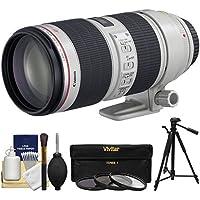 Canon EF 70-200mm f/2.8 L IS II USM Zoom Lens with 3 UV/ND8/CPL Filters + Tripod Kit for EOS 6D, 70D, 7D, 5DS, 5D Mark II III, Rebel T5, T5i, T6i, T6s