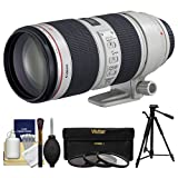 Canon EF 70-200mm f/2.8 L IS II USM Zoom Lens with 3 UV/ND8/CPL Filters + Tripod Kit for EOS 6D, 70D, 7D, 5DS, 5D Mark II III, Rebel T5, T5i, T6i, T6s