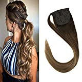 【New Arrival】VeSunny 20' Dark Brown Ombre Ponytail Extension Straight Human Hair 80G Thick Clip in Wrap Ponytail Hair Extensions Balayage Color #4 to #10 Mix #16 Golden Blonde