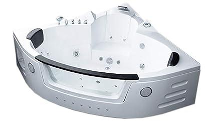 Two 2 Person Whirlpool Massage Bathtub Bath Tub Hydrotherapy White Corner  Bathtub 59.05 Inch Warranty Model