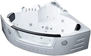 Two 2 person whirlpool massage bathtub bath tub Hydrotherapy White corner bathtub 59.05 inch Warranty model Sant'Angels, FM Radio, SPA, hot tub, DOUBLE PUMP Air + Water