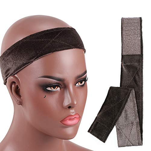 Wig Grip No-slip Comfort Velvet Adjustable Wig Grip Band Flexible Scarf Hair Headband For Lace Wigs and Frontals (Brown)