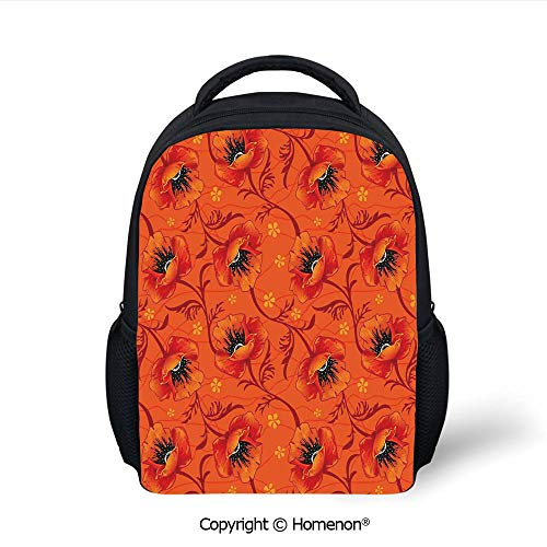 3D Poppy Flower Series Blossom Blooming Florals Romance Boho Art Decor Printing Children School Bags Campus Student Bookbags,(12.2