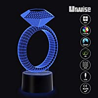 Diamond Ring 3D optical illusion night lights, seven color variations, smart touch button USB and battery power, amazing creative art design for children's Christmas gifts by Urwise