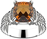 GEMPARA Designer Inspired Twisted Cable 10x8mm Citrine Cushion Ring Size 9