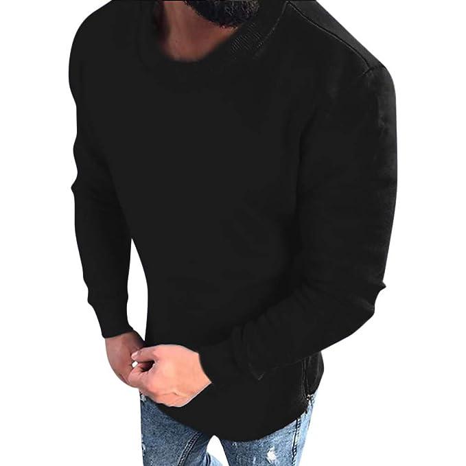 Camiseta Manga Larga Hombre, Beladla Sudaderas Hombre Sin Capucha Primavera OtoñO Invierno O-Cuello Casual Top EláStico Blusa SuéTer Tejido Camiseta Hombres ...