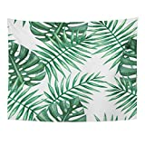 TOMPOP Tapestry Green Leaf Watercolor Tropical Palm Leaves Colorful Tree Summer Home Decor Wall Hanging for Living Room Bedroom Dorm 60x80 Inches