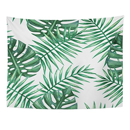 TOMPOP Tapestry Green Leaf Watercolor Tropical Palm Leaves Colorful Tree Summer Home Decor Wall Hanging for Living Room Bedroom Dorm 60x80 Inches by TOMPOP
