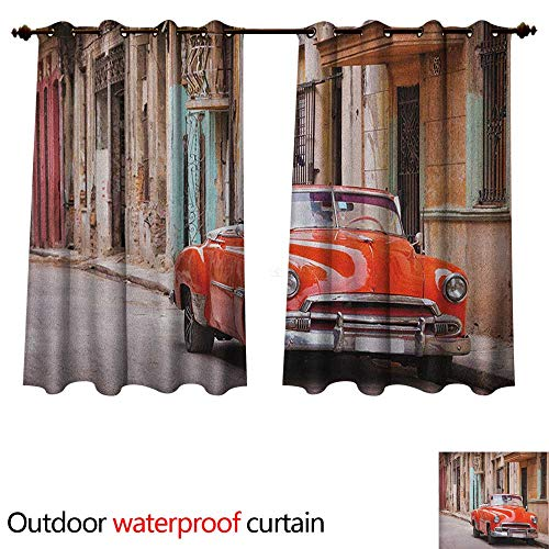 Cars Home Patio Outdoor Curtain Classical American Car in a Street with Ancient Houses Caribbeans Havana Cuba W55 x L45(140cm x 115cm)