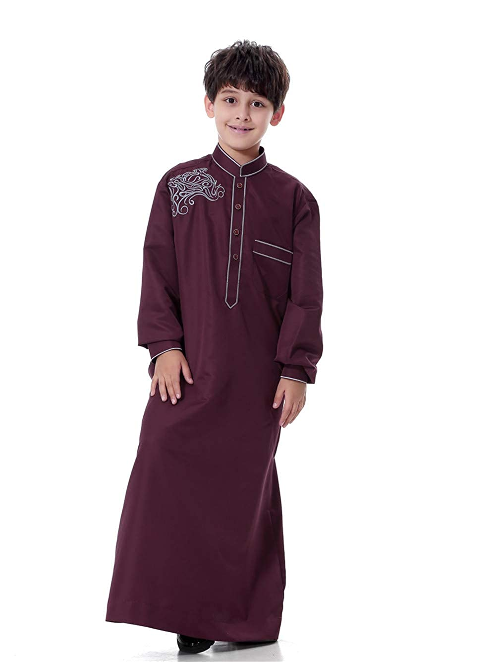 Fortunings JDS Boys Embroidery Thobe Long Sleeves Mandarin Neck Muslim Robe