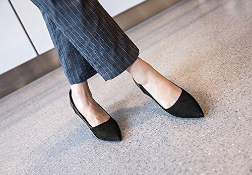 Aisun Damen Elegant Spitz Zehen Low Top Stiletto Slip On Business High Heels Pumps Schwarz