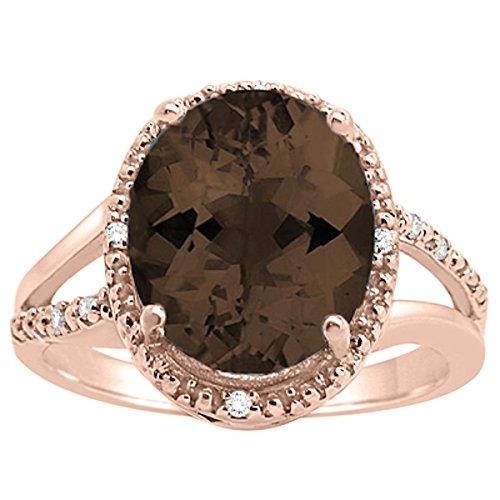 Oval Shaped Smokey Quartz and Diamond Ring in 10K Rose Gold (Smokey Oval Ring Quartz)