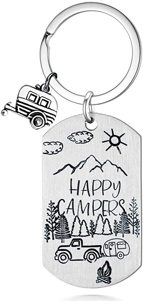 Shitter's Full Keychain RV Happy Camper Traveler Vacation Keyring Accessories for Men Women, Christmas Holiday Festival Gifts