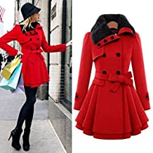 HOT SALE!Napoo Women Winter Button Hooded Fleece Warm Belted Thick Parka Overcoat