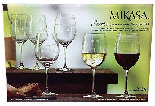 Mikasa ENCORE White Wine CRYSTAL STEMWARE - Set of 6 Glasses ()