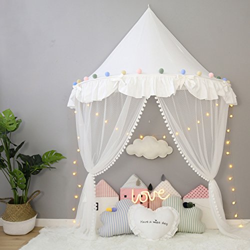White Canopy for Cot Girls Princess Tent Baby Toddler Bed Mosquito Net for Crib Teepee WFT