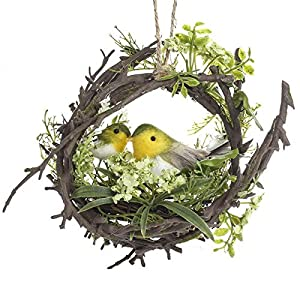 Factory Direct Craft Natural Twig Wreath with Forest Greenery and Bird Nest with Sweet Artificial Birds Inside 69