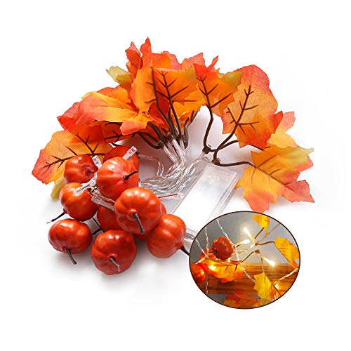 Artificial Maple Leaves Decorative Light LED String Lights for Halloween, Christmas, Party, Wedding, Outdoor Garden, Stairs, Balcony, House Decorations, Thanksgiving, Fall Decor