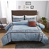 Felicite Home 3 Piece Oversized Duvet Cover Set ,Egyptian Quality Luxury Super Soft WRINKLE FREE Duvet Quilt,Blue,KAYLA,King
