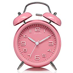 DreamSky Twin Bell Alarm Clock With Backlight, Non Ticking & Silent, Large Number Display, Loud Alarms For Heavy Sleeper, Battery Operated, Pink