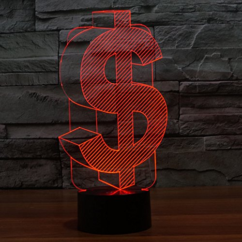 3D Illusion Lamp Gawell US Dollar Effect Night Light 7 Colors with Touch Switch USB Cable Nice Gift Home Office (Sign Of The Whale Halloween)