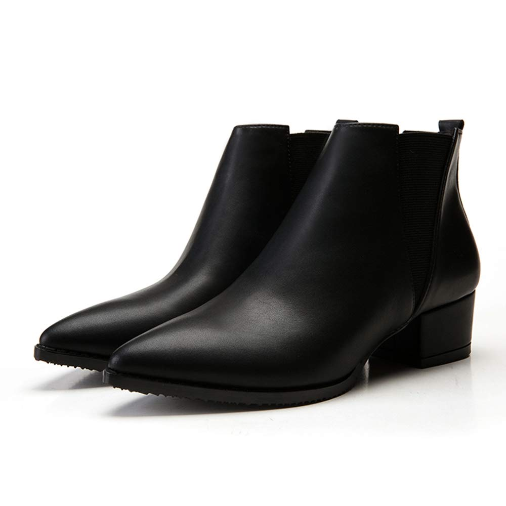 EbuyChX Thick Heel Simple Ankle Boots Pointed High Heel Womens Boots