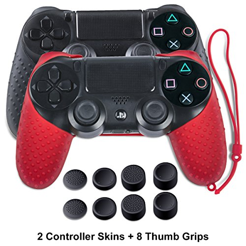 Skin for PS4 Controller - Silicone Covers for DualShock 4 - Anti-slip Protector with Hand Strap Case for Sony PS4, PS4 Slim, PS4 Pro 2 PS4 Controller Skins - 4 Pairs PS4 Thumb Grips - Black & Red