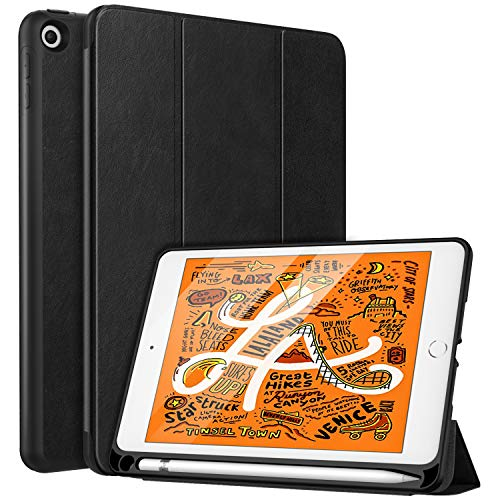 MoKo Case Fit New iPad Mini 5 2019 (5th Generation 7.9 inch) with Pencil Holder - Slim Lightweight Smart Shell Stand Cover Case with Auto Wake/Sleep for iPad Mini 2019 - Black