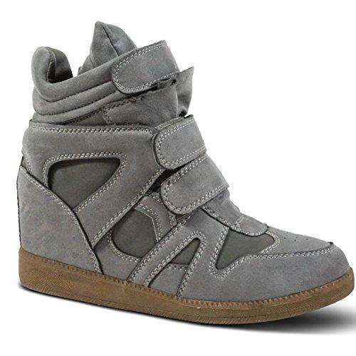 ST386 Stiefeletten Keilabsatz Boots Sneakers Heels Wedge Damen Plateau High Grau w78ZI