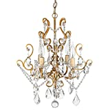 Theresa Vintage Gold Crystal Chandelier, Mini Plug-In Swag Glass Pendant 4 Light Wrought Iron Ceiling Lighting Fixture Lamp