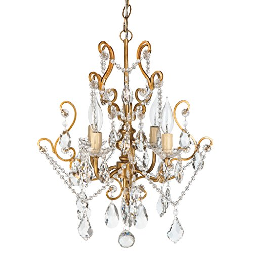 Theresa Vintage Gold Crystal Chandelier, Mini Plug-In Swag Glass Pendant 4 Light Wrought Iron Ceiling Lighting Fixture Lamp (Vintage Crystal Gold)