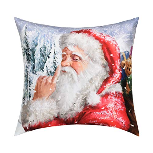 Santa Snow Claus - Christmas Throw Pillow Case Santa Claus Snow Secenry Pillow Decorative Cushion Cover Perfect Home Decoration or Gift for Christmas Winter Families Friends Yourself (White Red, 18 x 18 Inch))