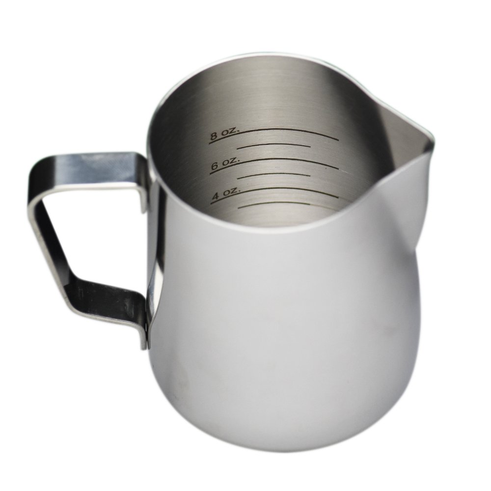 12 oz Stainless Steel Frothing Pitcher with Graduated Interior Markings by National Etching (Image #1)