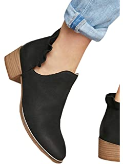 5b32a7bc166 Ermonn Womens Ruffle Ankle Boots Cut Out Pointed Toe Chunky Low Heel  Western Booties