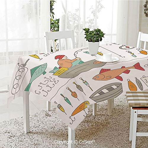 SCOXIXI Water Resistant Tablecloth,Fishing Gear Fisherman in The Boat Catching Fish Rod Bobber Tackle Hook Clip Work,Washable Tablecloth Dinner Picnic Table Cloth Home Decoration(60.23