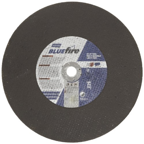 Norton Blue Fire Free Cut Chop Saw Reinforced Abrasive Cut-off Wheel, Type 01 Flat, Zirconia Alumina and Aluminum Oxide, 1'' Arbor, 14'' Diameter x 7/64'' Thickness  (Pack of 1) by Norton Abrasives - St. Gobain