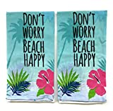 Mainstay Flour Sack Towels 2 Piece- Don't Worry Beach Happy