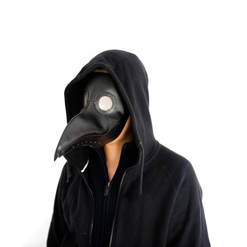 fridaymonga Maschera per Uccelli Medico della Peste ,Halloween Puntelli Costume Nero Testa Piena Maschera Naso Lungo in Pelle Uccello Maschera Halloween Steampunk Cosplay Gotico Vestire