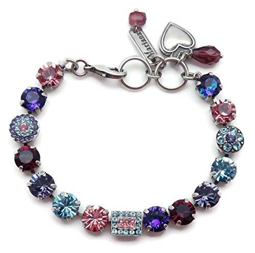 Mariana Cotton Candy Swarovski Crystal Silvertone Bracelet Pink Purple Blue Circle Rectangle Mosaic 144