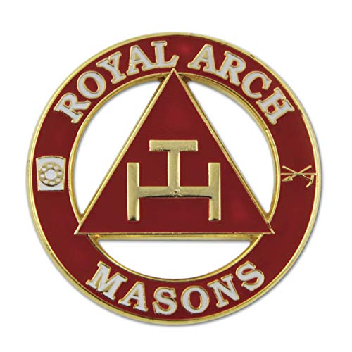 (Royal Arch Masons Round Red Masonic Lapel Pin - 1 1/4