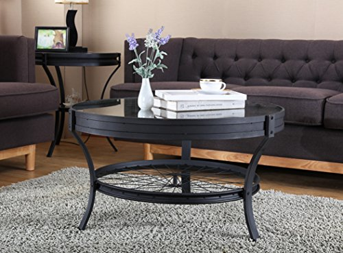 O&K Furniture Wheel Spoke Design- Round Coffee Table with Gl
