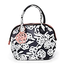 BUILT NY Downtown Neoprene Lunch Tote, Garden Rose Black and White